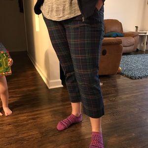 Merona Navy Plaid Crop Pants
